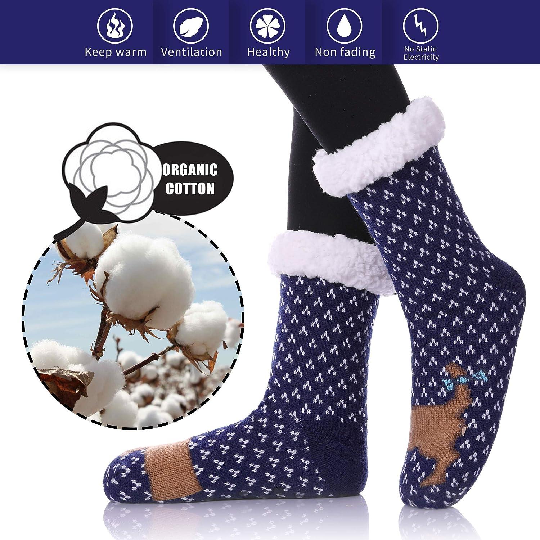 c/álidos HERHOREBO Calcetines de punto para mujer con cara de animal forro polar suave