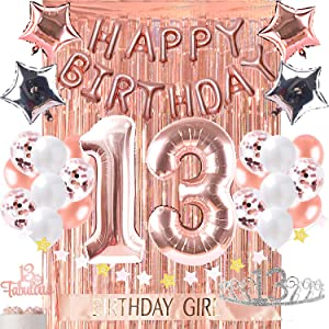13th Birthday Decorations Photo Props Birthday Party Supplies 13 Cake Topper Rose Gold Happy Birthday Banner Confetti Balloons Silver Curtain Backdrop Props or Photos Thirteen Teenager Bday