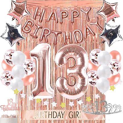 Decoración Para 13 Cumpleaños Decoración De Fotos Accesorios Para Fiestas De Cumpleaños 13 Decoraciones Para Tartas De Oro Rosa Banner De Confeti Globos De Plata Cortina Telón De Fondo O Fotos