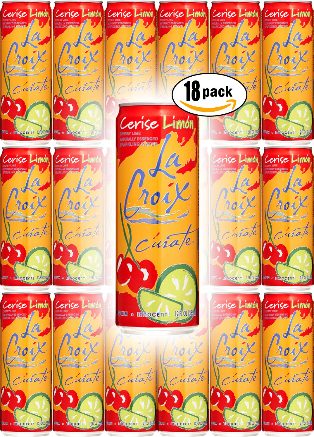 La Croix Cerise Limon, Cherry Lime Flavored Naturally Essenced Sparkling Water, 12oz Tall Can (Pack of 18, Total of 216 Oz) by La Croix