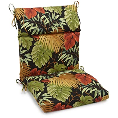 """Blazing Needles Spun Polyester Patterned Outdoor Squared Seat/Back Chair Cushion, 20"""" x 42"""", Tropique Raven : Home Improvement"""