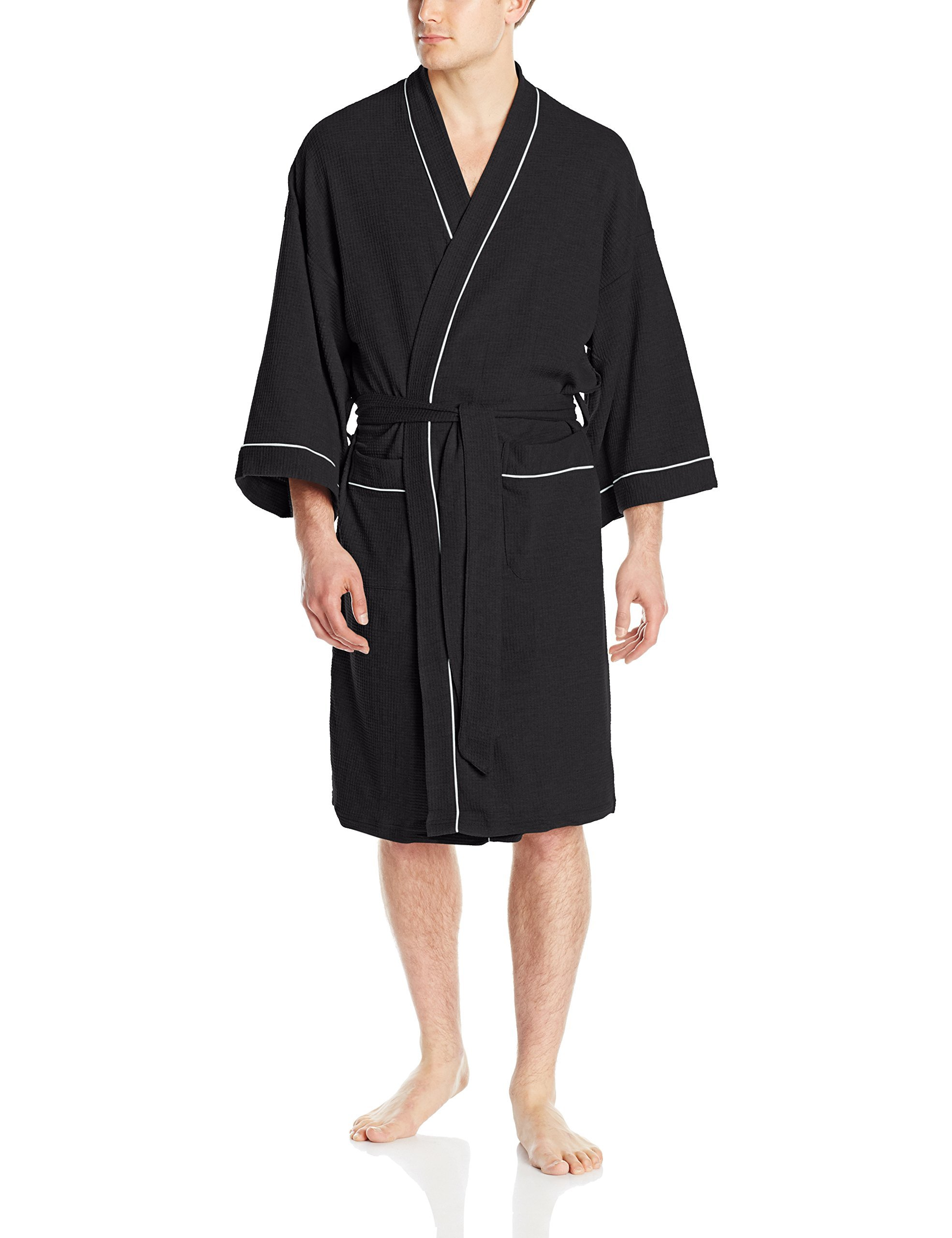 WULFUL Men's Cotton Lightweight Bathrobe Waffle-Knit Kimono Robe Soft Spa Bathrobe Nightgown Sleepwear (Black, M)