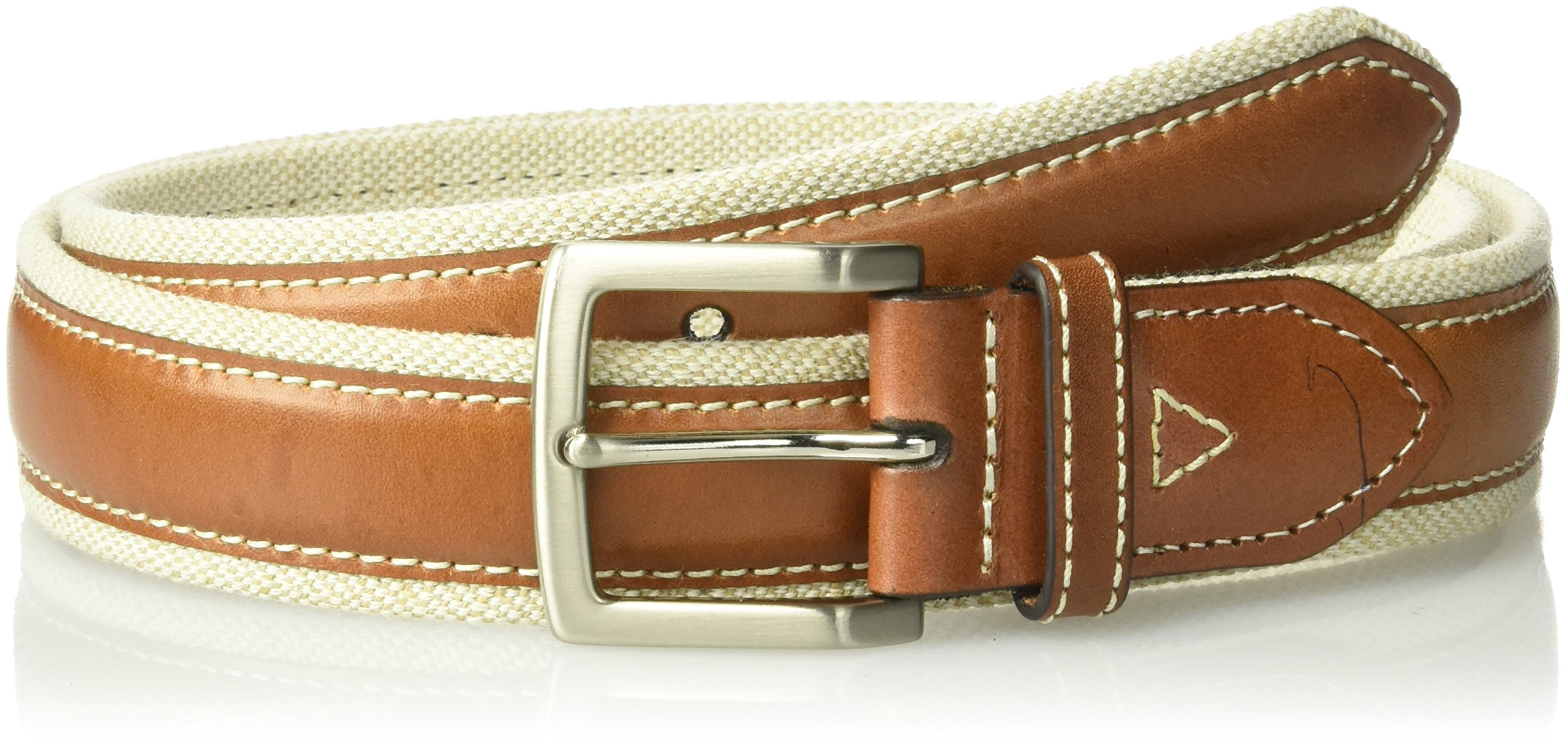 Tommy Bahama Men's 1.5 in. Canvas Belt With Genuine Leather Overlay, natural, 32