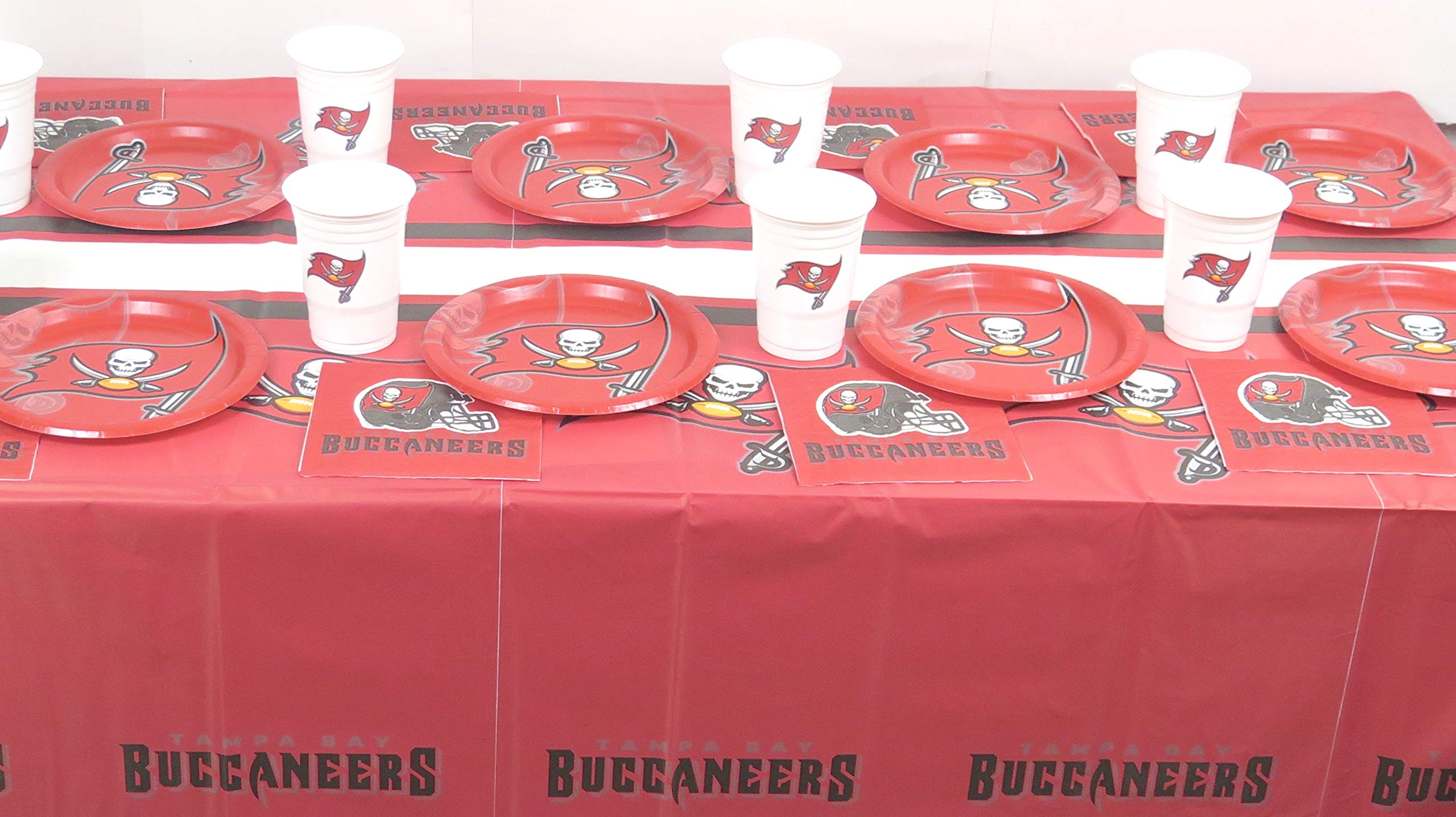 Tampa Bay Buccaneers Game Day Football Party Set, Includes Plates, Napkins, Jumbo Cups and a Tablecloth 49 Pieces Set.