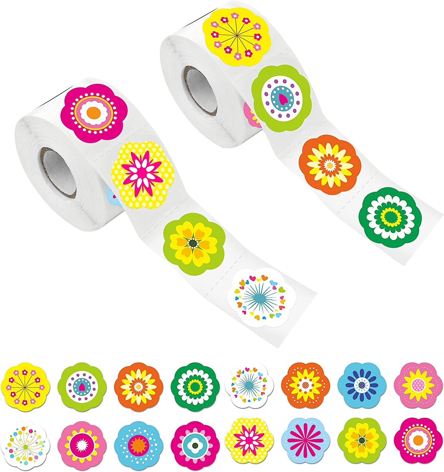 """600 PCS Adorable Flower Stickers in 16 Designs with Perforated Line Expanded Version (Each Measures 1.5"""" in Diameter)"""