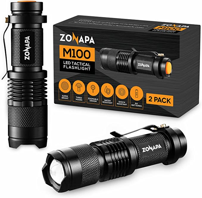 ZONAPA LED Mini Flashlights (2-Pack) Tactical, Compact, Portable | Ultra-Bright Lighting | Indoor and Outdoor Use | Emergency, Camping, Travel, Hiking | Battery Powered … (2 Pack) - - Amazon.com