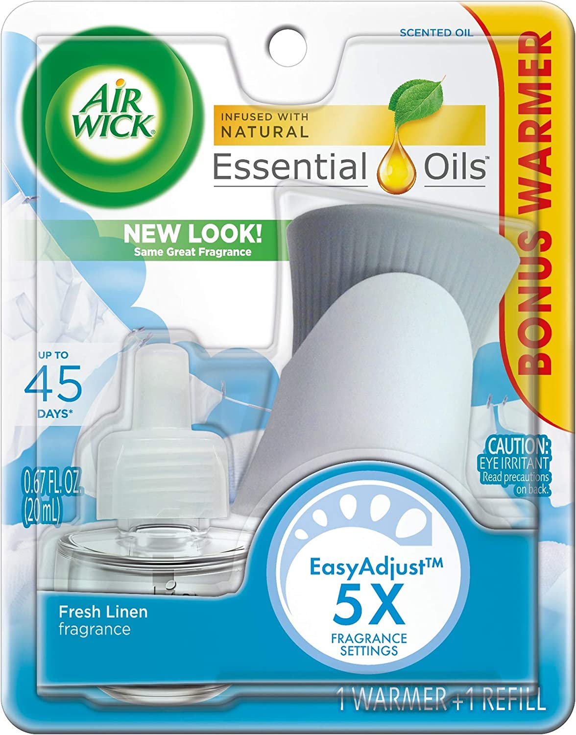 Air Wick plug in Scented Oil Kit (Warmer + 1 Refill), Fresh Linen, Same familiar smell of fresh laundry, New look, Packaging May Vary, Essential Oils, Air Freshener