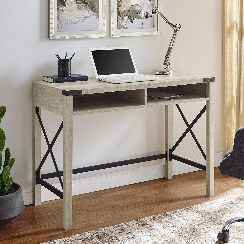 Walker Edison Rustic Modern Farmhouse Metal and Wood Laptop Computer Writing Desk Home Office Workstation - White Oak
