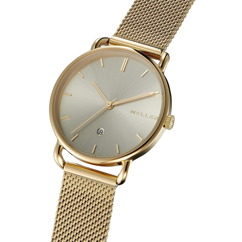 Meller denka All Gold Reloj para Mujer Analógico de Cuarzo japonés con Brazalete de Acero Inoxidable bañado en Oro W3OO-2GOLD: Amazon.es: Relojes