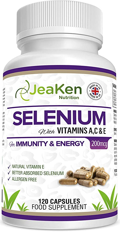 SELENIO ACE por JeaKen - Selenio de alta calidad + vitaminas A, C, E para la fertilidad, la función tiroidea, la inmunidad y la energía - Mejora el ...