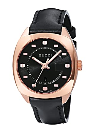 06e1034da13 Image Unavailable. Image not available for. Color  Gucci Swiss Quartz  Gold-Tone and Leather Dress Black Men s Watch(Model  YA142407