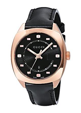 f5a97e2827f Amazon.com  Gucci Swiss Quartz Gold-Tone and Leather Dress Black ...