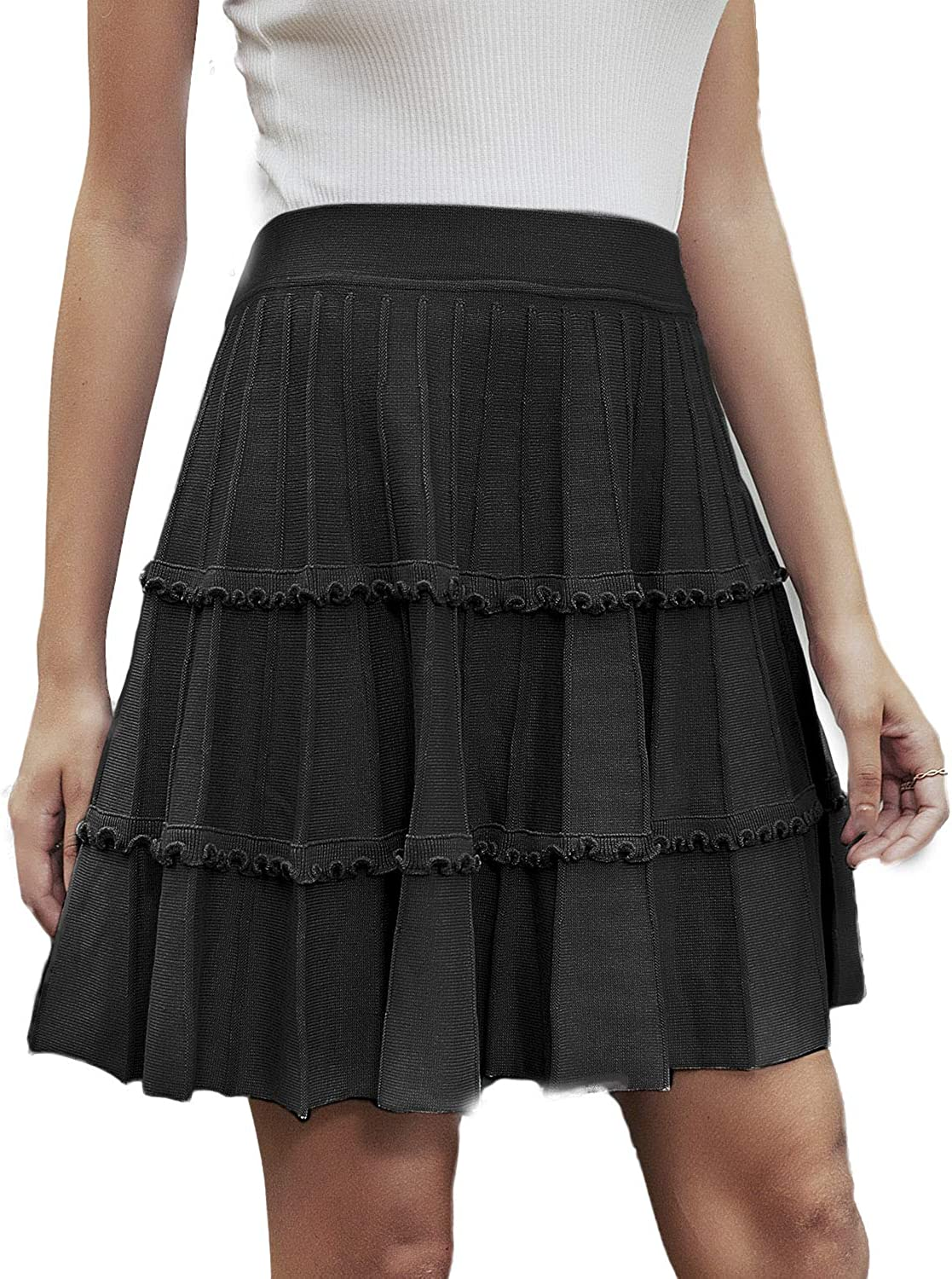 Simplee Women's Flared Pleated Ruffle Knitted A Line Mini Skater Skirt