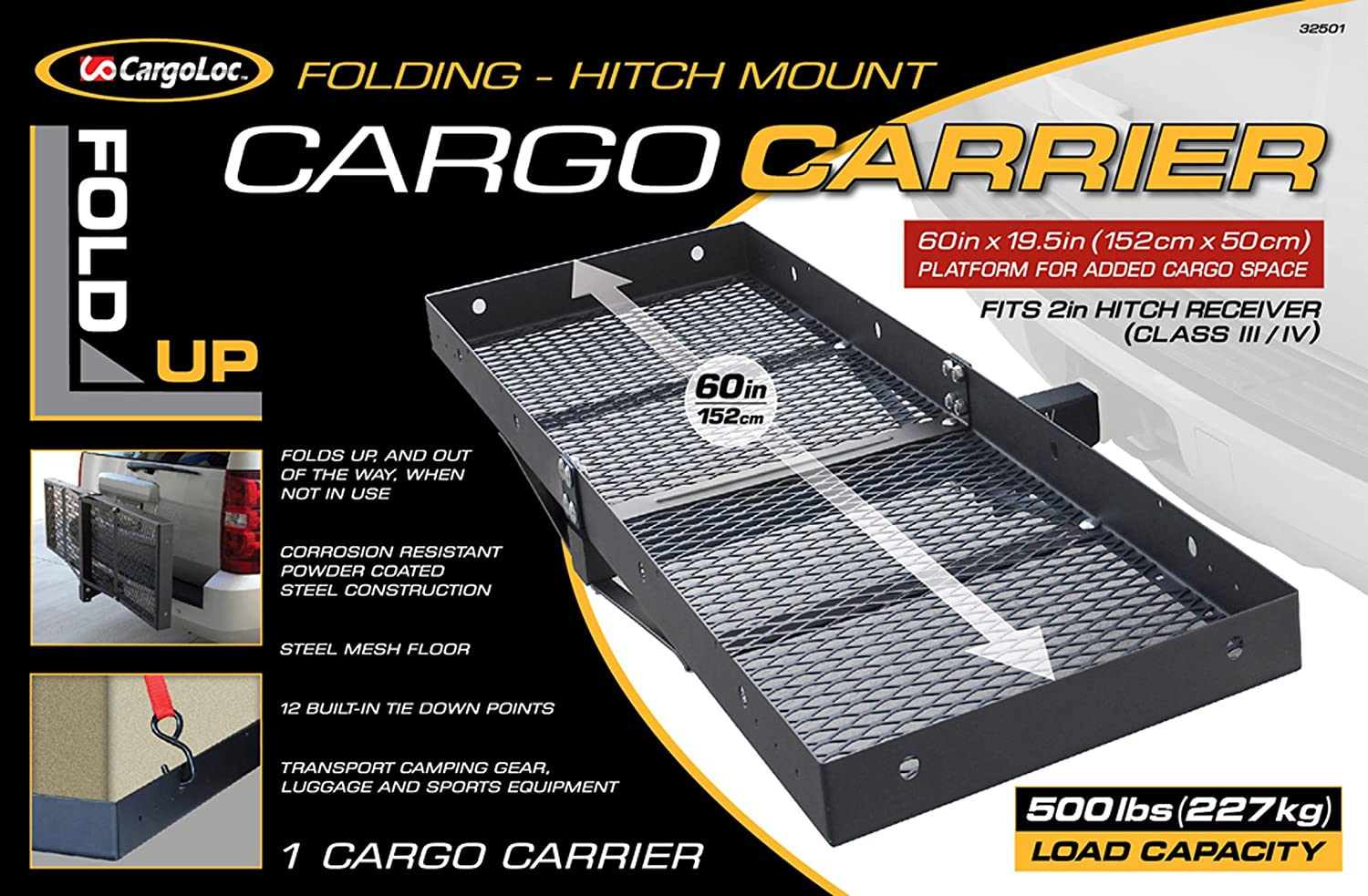 CargoLoc Hitch Mount 60 x 19.5 Cargo Carrier 500 lbs 32501 Fold-Up