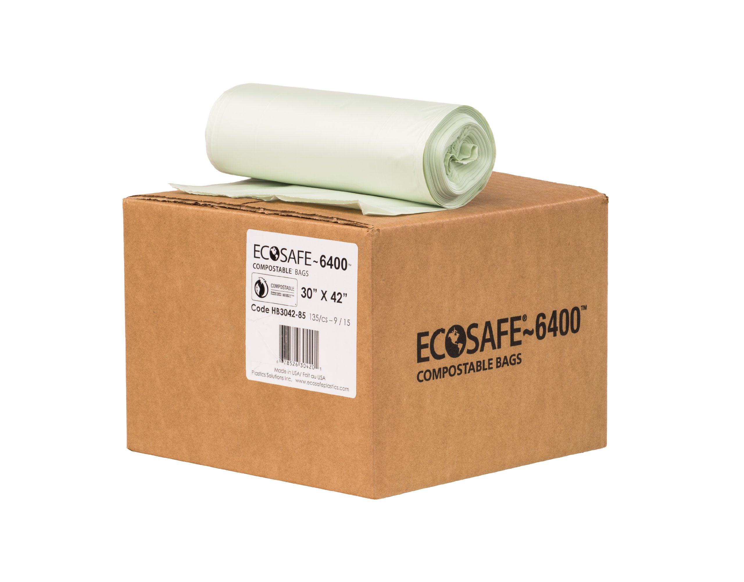 EcoSafe-6400 HB3042-85 Compostable Bag, Certified Compostable, 35-Gallon, Green (Pack of 135) by EcoSafe