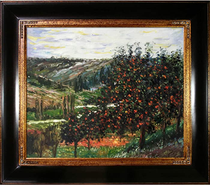 """La Pastiche Overstockart Mon2031-Fr-240G20X24 Monet Apple Trees in Bloom at Vetheuil 1887 with Opulent Frame, Dark Stained Wood with Gold Trim, 33"""" x 29"""""""