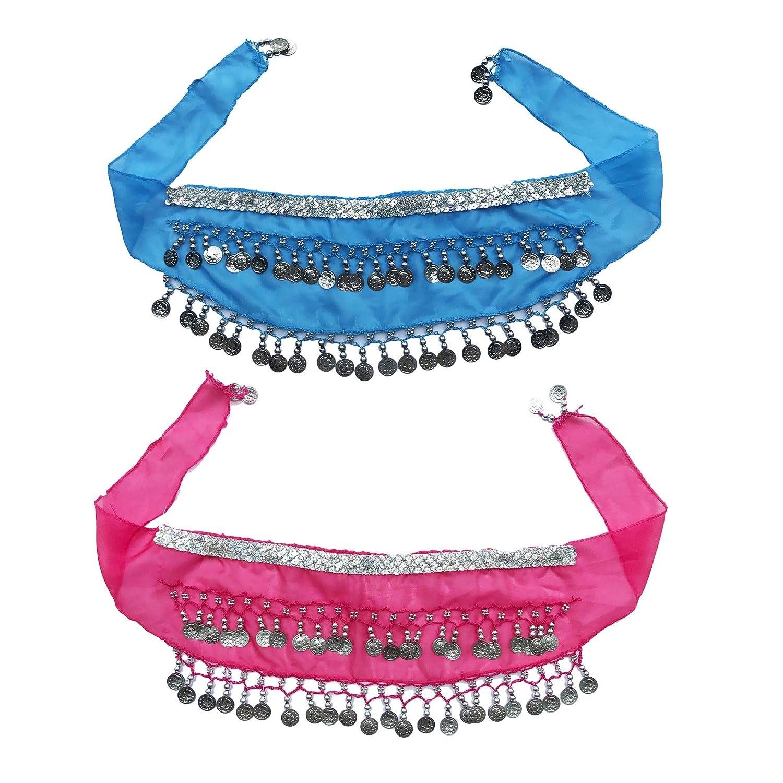 Wuchieal kid's 2-Pieces Chiffon Arabic Belly Dance Gold/Silver Coin Belt Hip Scarf Skirt Wrap Sky Blue) WCEETLPYL-G-BNDP
