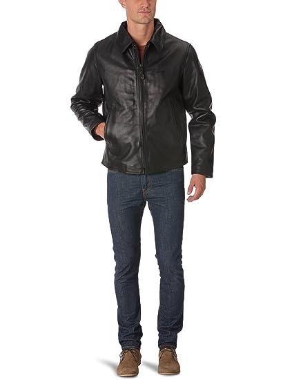 f3283cf7338 Schott Men s LC9800 Blouson Plain or unicolor Long sleeve Jacket - Black -  Black - Small