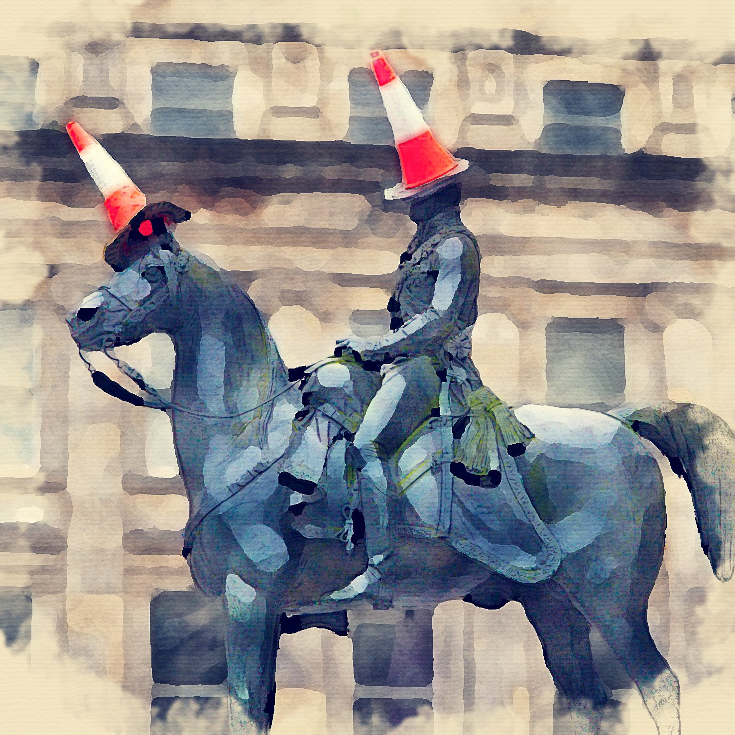 Wall Art Watercolour Print of Duke of Wellington | with Stylish Contemporary 23x23cm Frame 24 Images of Glasgow