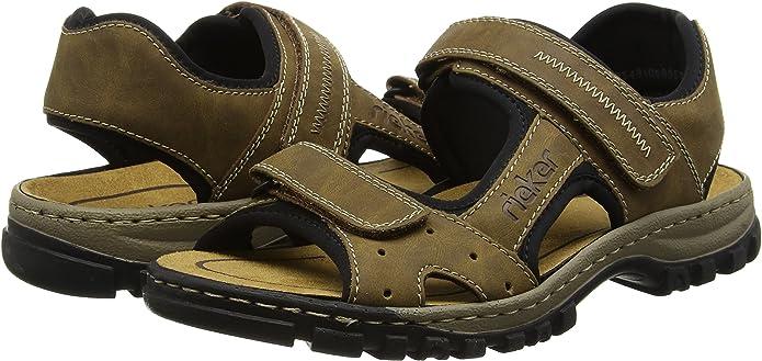 Rieker 25084 Sandals Men, Sandales Bout ouvert homme, Marron