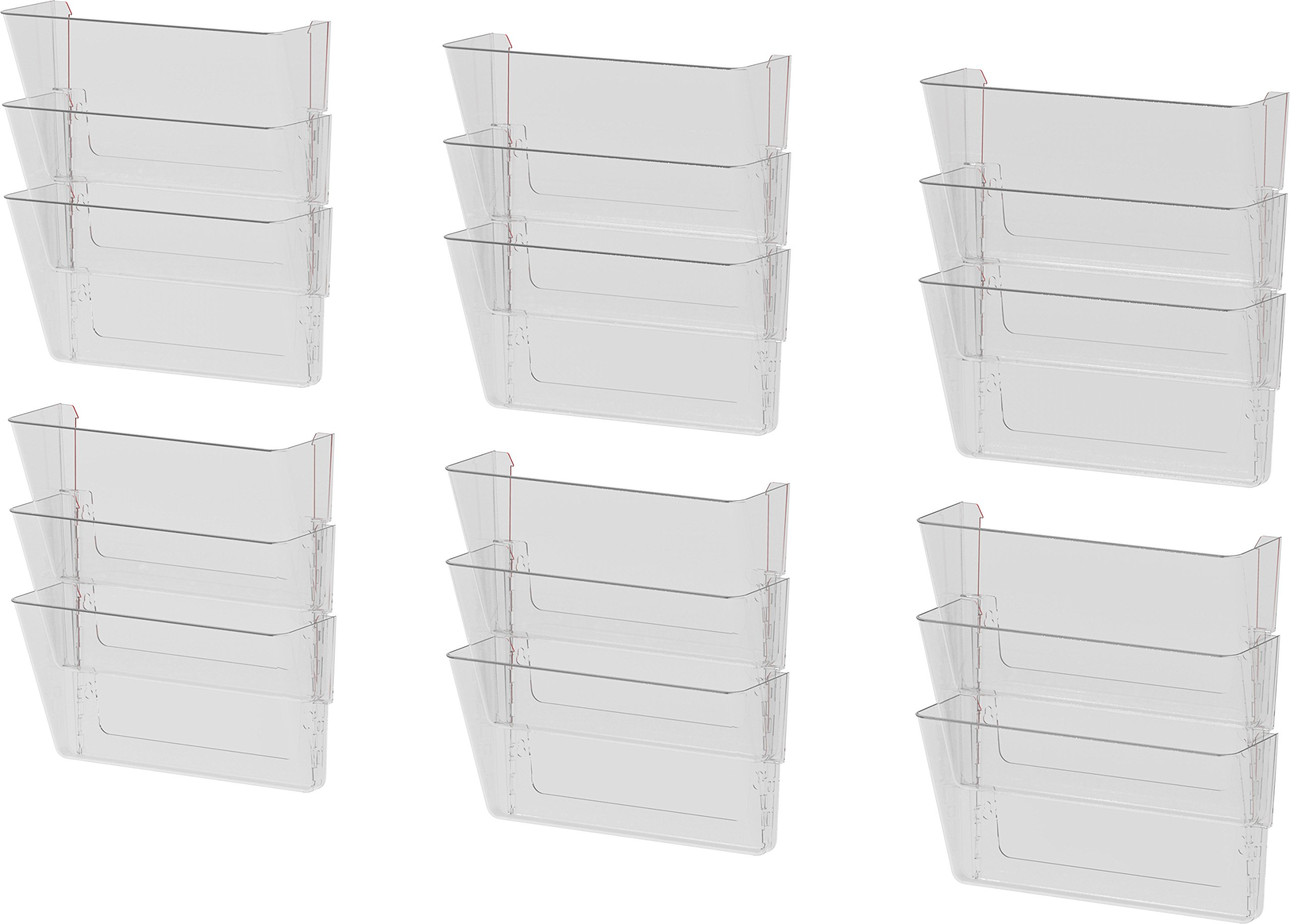 Storex Wall Files, 13 x 4 x 7 Inches, Letter, Clear, Case of 6 3-Packs (70245U06C)