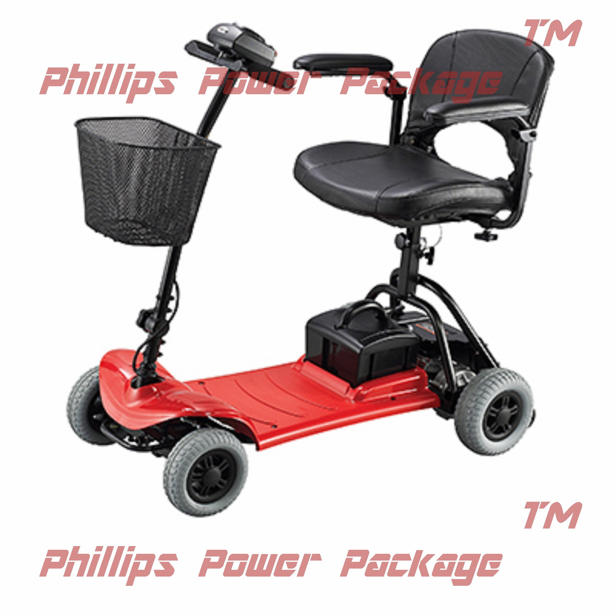 Merits Health Products - Roadster - 4-Wheel Scooter - 15''W x 15''D - Red - PHILLIPS POWER PACKAGE TM - TO $500 VALUE