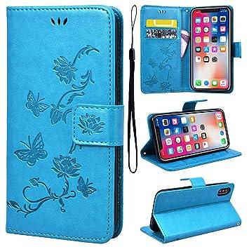 9ecc7a538ec Carcasa iPhone X Libro Marrón Dibujo Flores y Mariposas, Smart Legend funda  piel Premium y silicona TPU con tapa Card Slot 360 grados Pantalla, ...