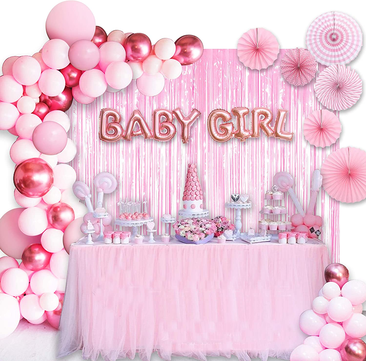 Amazon Com Baby Shower Decorations For Girl 10in Baby Girl Balloons 129pcs Pink Party Decorations Are Perfect For Your Baby Shower Toys Games