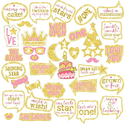 Girl 1st Birthday Photo Booth Props BizoeRade 37pcs Pink And Gold First Party