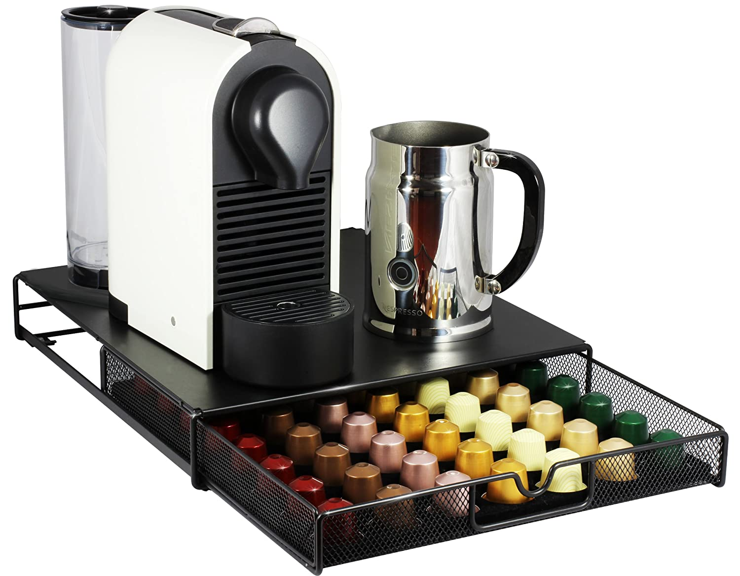Ordinaire Amazon.com: DecoBros Coffee Pod Storage Mesh Nespresso Drawer Holder For 56  Capsules, Black: Office Products