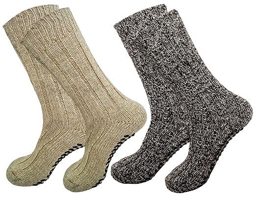 Calcetines noruegos ABS antideslizantes con lana de oveja, para hombre y mujer Marrón marrón natur: Amazon.es: Ropa y accesorios