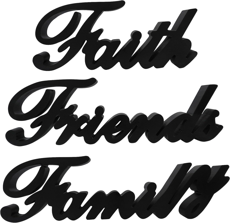 CVHOMEDECO. Matt Black FFF Wooden Words Sign Free Standing Faith, Friends, Family Desk/Shelf/Home Wall/Office Decoration Art. Set of 3