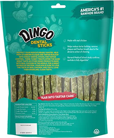 Made with Chicken Dental Dog Chew Dingo Tartar and Breath Dental Sticks for All Dogs