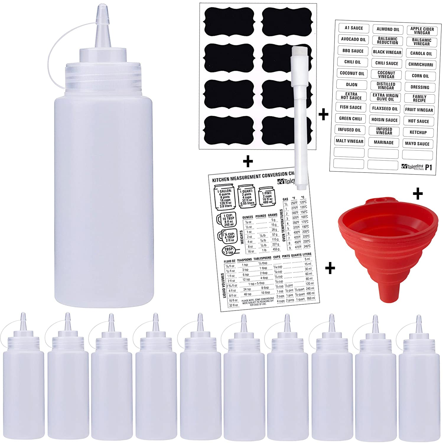 10-PACK Premium Plastic Squeeze Bottles, 16 Oz Condiment Squirt Bottles w/Caps. Complete Set by Talented Kitchen: Preprinted Labels & Chalkboard Labels, Marker, Funnel. Sauce Salad Dressings. BPA Free 10 16oz Squeeze Bottles