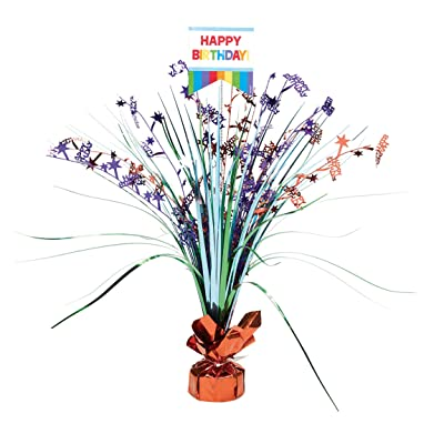 Amscan 110272 Fun Birthday Foil Centerpiece Table Decoration SPRAY CP PR, 1, Multicolor: Kitchen & Dining