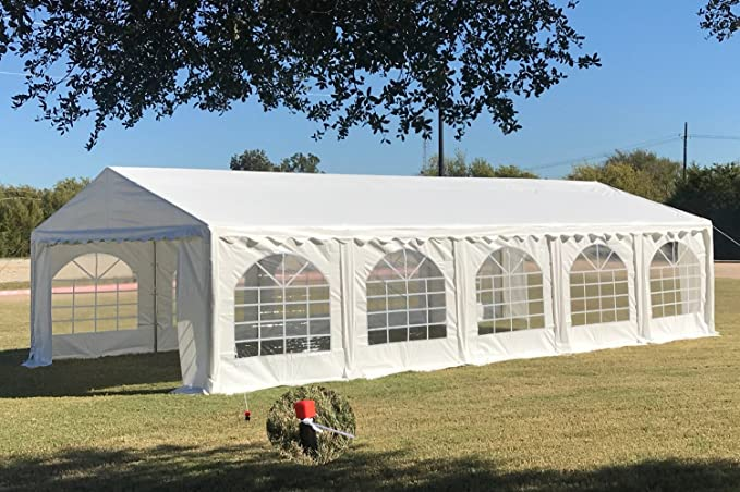 Amazon.com & 32u0027x16u0027 PE Party Tent White - Heavy Duty Wedding Canopy Carport Shelter - with Storage Bags - By DELTA Canopies