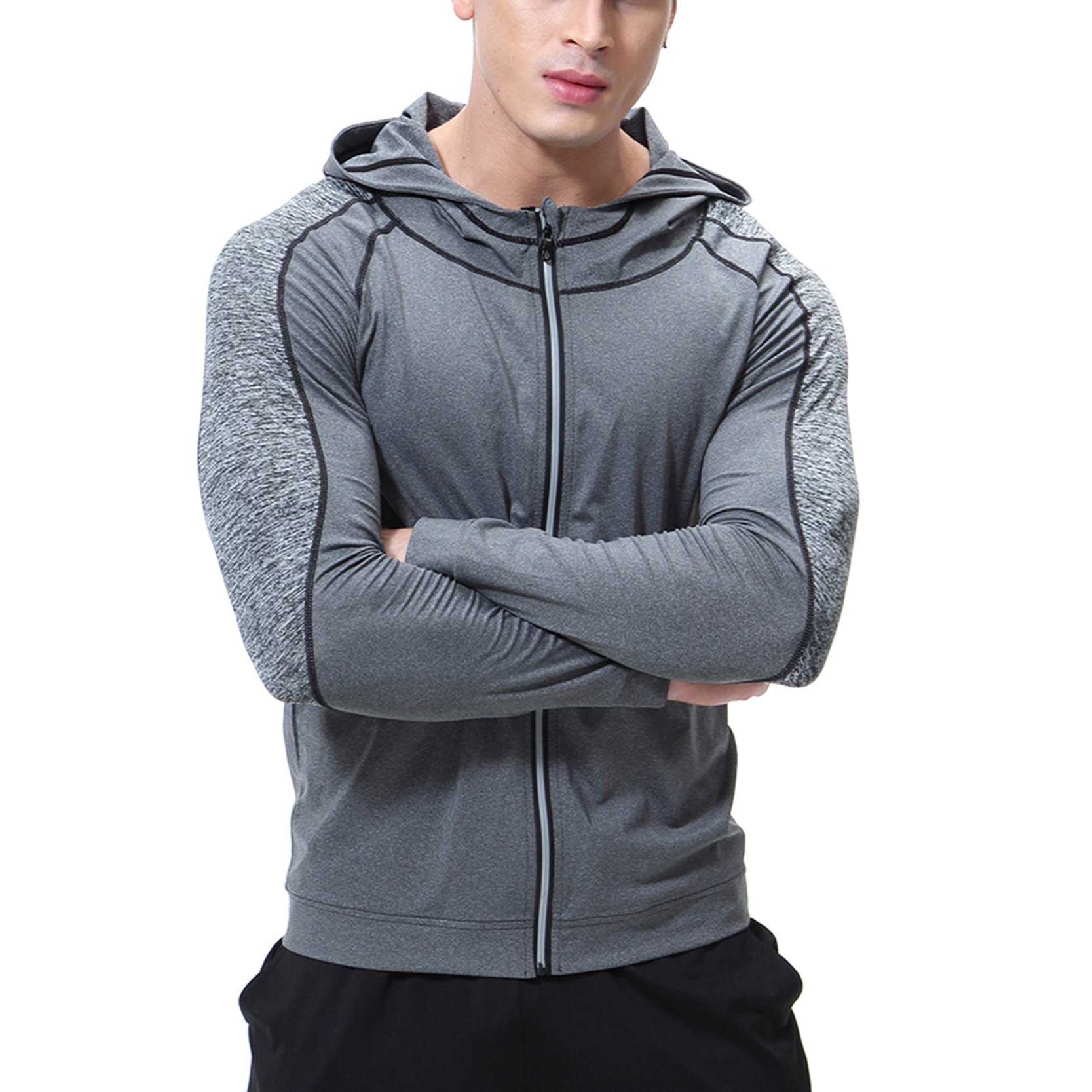 SEVENWELL Men's Zip-up Hoodie Warm Hooded Sweatshirt Coat Jacket Outwear Sweater Gray XL= US L