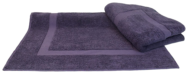 BC BARE COTTON Collection Luxury Hotel & Spa Towel 100% Turkish Cotton Bath Mats - Plum - Dobby Border - Set of 2