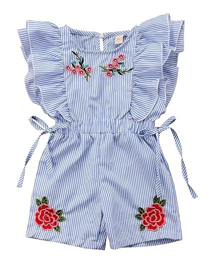e86b8ba2c327 Urkutoba Baby Girl Floral Romper Jumpsuit Stripe Flutter Ruffle Sleeve  Bodysuit One Piece Bowknot Summer Short