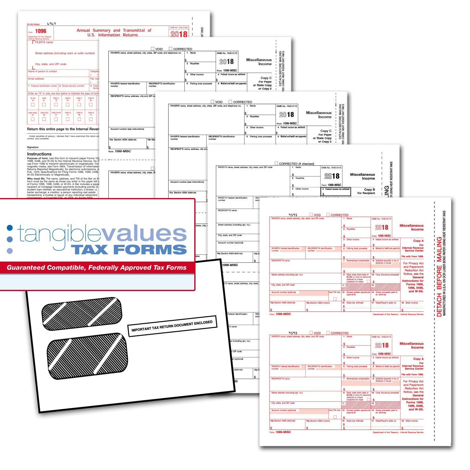 Tangible Values 1099 Misc Laser Forms (4-Part) Kit with Env for 50 Vendors + 3 Form 1096's (2018)