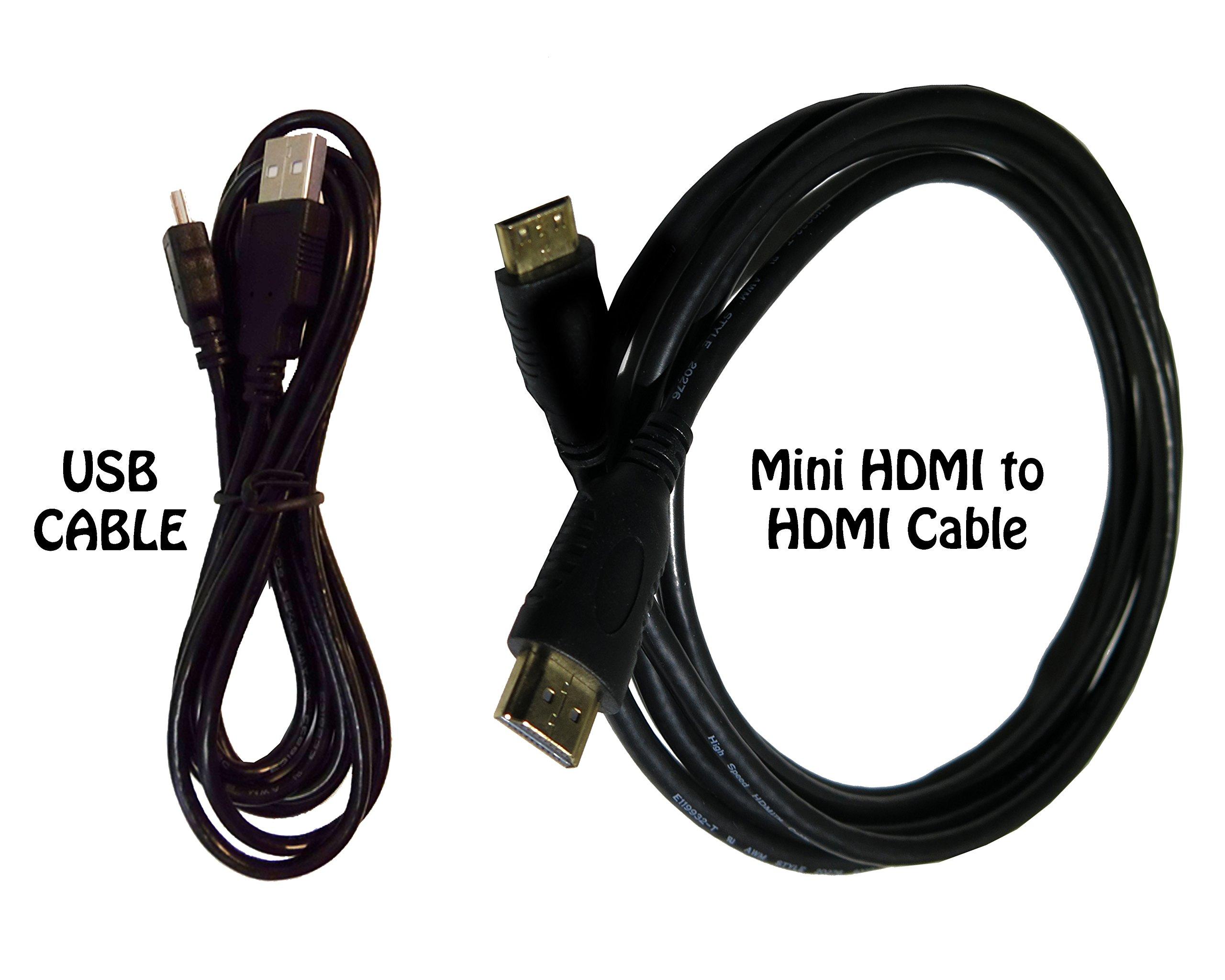 HDMI Cable for Canon EOS SL2 DSLR Camera + USB Cable - High-Speed 4K Mini HDMI to HDMI Cable for Canon EOS SL2 DSLR Camera, 6 Feet.