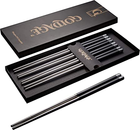 Goldage 5 pares de palillos de acero inoxidable de fibra de vidrio ...
