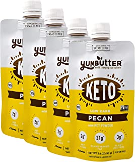 product image for Keto Nut Butter, Pecan – Keto Snacks with MCT Oil, Fat Bomb Low Carb Snacks (2 Net Carbs), On-the-go Keto Food by Yumbutter, 3.4oz pouch, 4 pack