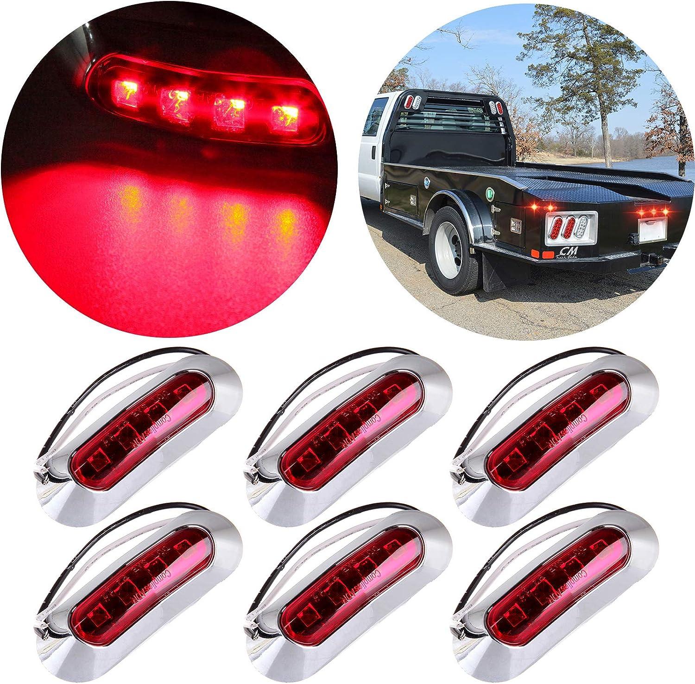 """Pack of 10 3//4/"""" Trailer Side Marker Truck Red Light  Chrome Bezel Clearance Lamp"""