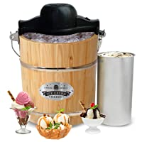 Maxi-Matic 4-qt Old Fashioned Pine Bucket Electric/Manual Ice Cream Maker