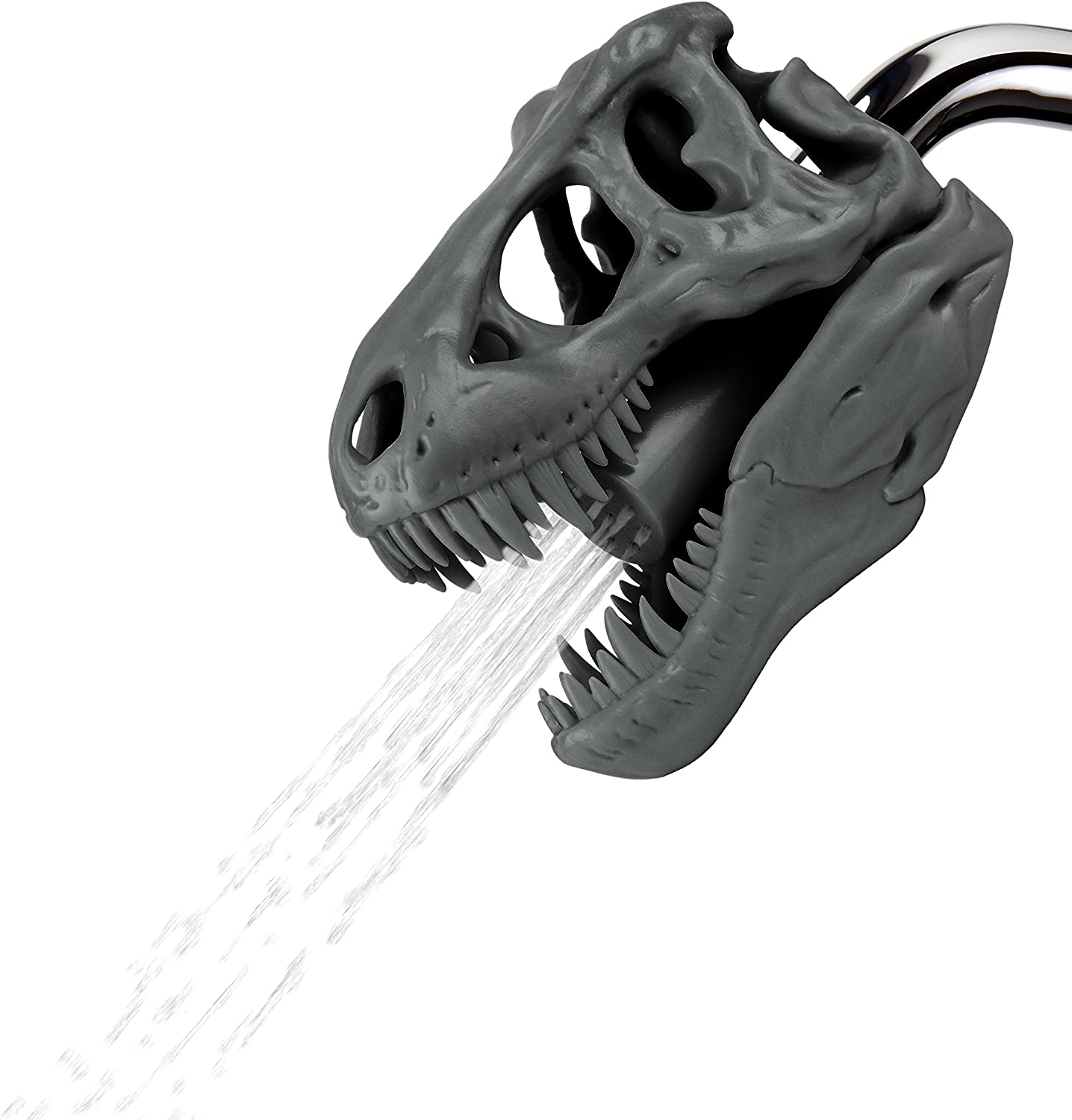 Barbuzzo T-Rex Shower Head, Gray - Prehistoric Shower Nozzle Shaped like a Tyrannosaurus Rex Skull - Gives Your Shower-Time a Jurassic Touch - Terrific Gift for Kids & Dino-Enthusiasts - Wash N' Roar
