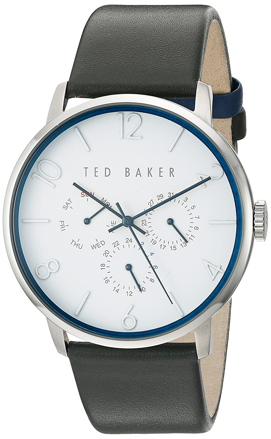 Amazon.com: Ted Baker Mens Smart Casual Quartz Stainless Steel and Leather Dress Watch, Color:Grey (Model: 10029567): Ted Baker: Watches