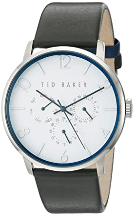 Ted Baker Mens Smart Casual Quartz Stainless Steel and Leather Dress Watch, Color