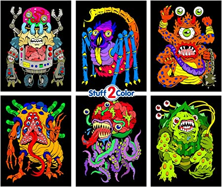 Amazon.com: Monsters - 6 Pack Of Fuzzy Velvet Coloring Posters - Arrives  Uncolored - Great Craft Activity For Kids, Toddlers, Teens And Adults:  Everything Else