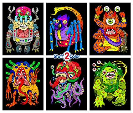 Amazon Com Stuff2color Monsters 6 Pack Of Fuzzy Velvet Coloring